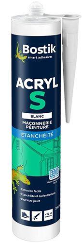 BOSTIK - Mastic acrylique Acryl S blanc 310 ml